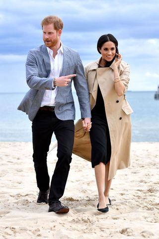 O casal real visita a praia de South Melbourne