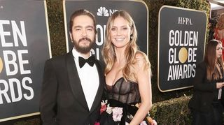 Noivos, Heidi Klum e Tom Kaulitz dão nas vistas na 'red carpet' dos Golden Globe Awards