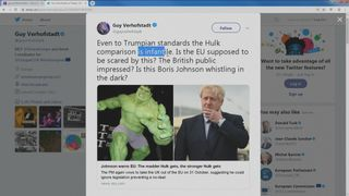 Boris Johnson compara Brexit ao super-herói Hulk