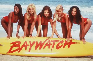 Yasmine Bleeth, Donna D'Errico, Traci Bingham, Brooke Burns, Gena Lee Nolin e Nancy Valen em Baywatch (1989)